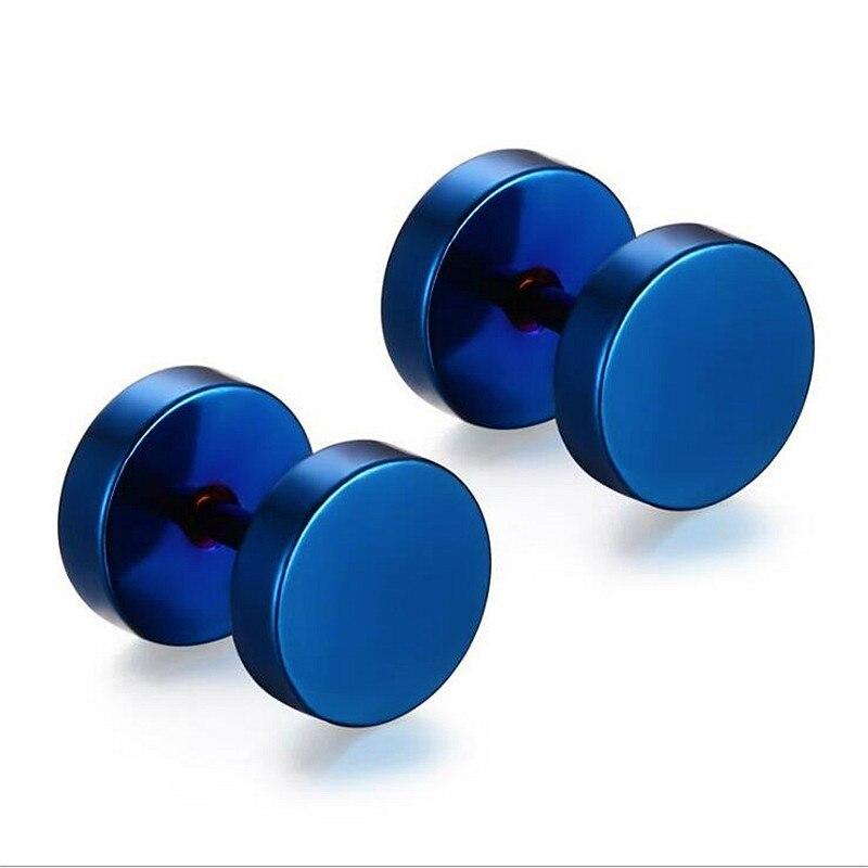 FishSheep Rock Punk 8MM Stainless Steel Stud Earrings For Men Women Titanium 5 Colors Piercing Male Earrings Fashion Men Jewelry