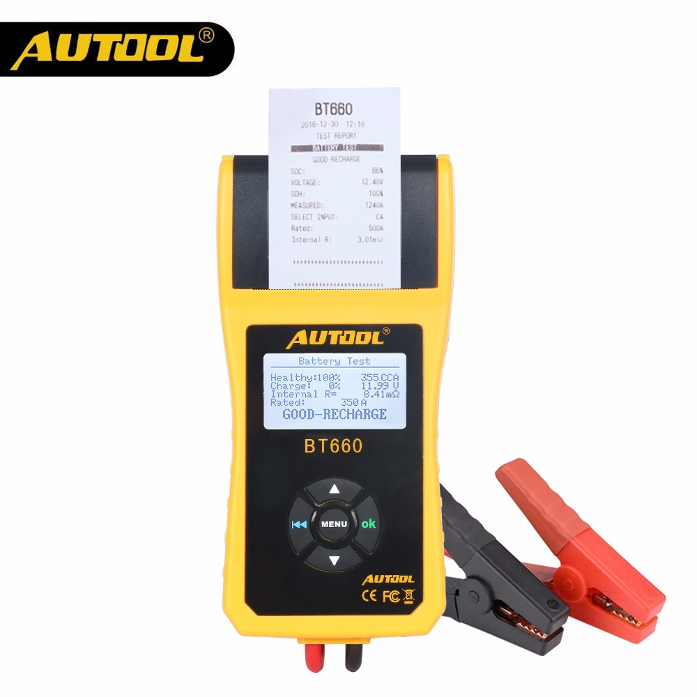 AUTOOL BT660 Battery System Tester Built-in Thermal Printer BT-660 with Shell Anti-acid Plastic Multi-Languages Fast Shipping messenger bag