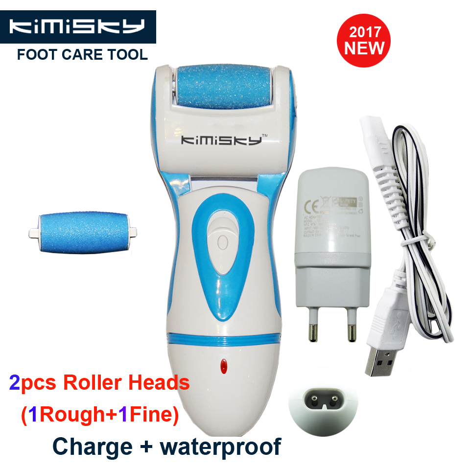 KIMISKY Blue Rechargeable Foot Care Tool Powerful Electric Pedicure Foot File Callus Remover Personal Care 2Ps Sholl Roller Head electric feet care tool best pedicure tool skin callus legs remover rechargeable personal care peeling exfoliator foot file 49