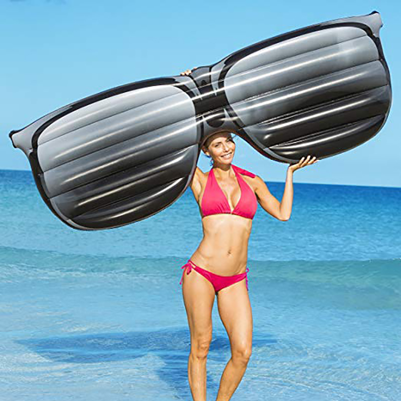 190cm Giant Inflatable Sunglasses Shape Floating Row Inflatable Swimming Pool Float Lounge Air Mattress Water Fun Toys Beach Bed