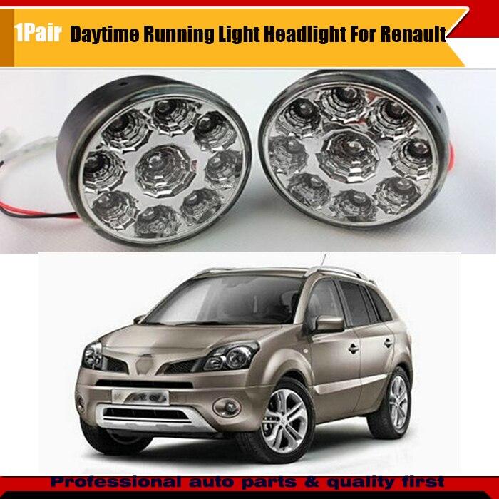 2pcs 9 LED Round Daytime Driving Running Light DRL Car Fog Head Lights For Duster Fluence