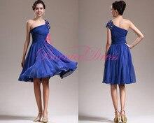 Vestidos De Festas 2014 Curto Party Dress Gentle OneShoulder Kurzarm A-linie Knielangen Blauen Chiffon Kristall Cocktailkleid