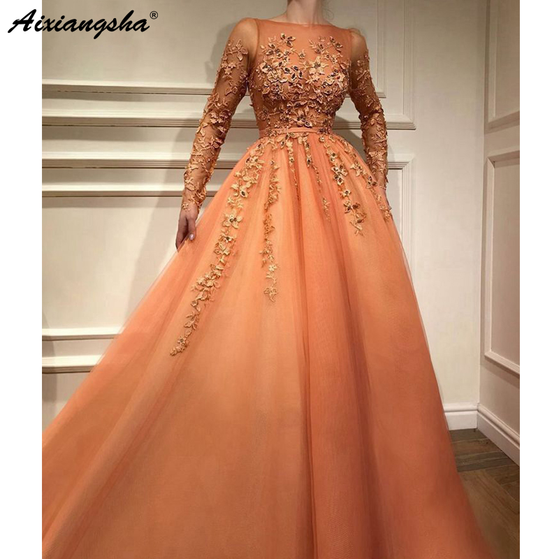 Muslim Turkish Evening Dresses 2018 A-line Long Sleeves Tulle Appliques Beaded Dubai Saudi Arabic Long Elegant Evening Gown