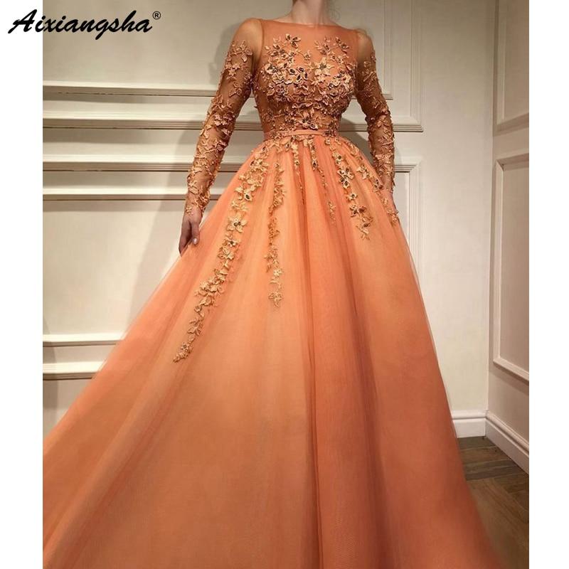 Muslim Turkish   Evening     Dresses   2018 A-line Long Sleeves Tulle Appliques Beaded Dubai Saudi Arabic Long Elegant   Evening   Gown