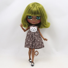 Factory Neo Blythe Doll Super Black Skin Retro Green Short Curly Hair Jointed Body 30cm