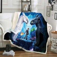Toothless Light Fury Dragon 3 Plush Toy Kids Toys Printed Blanket Sofa Cover Cloak Night