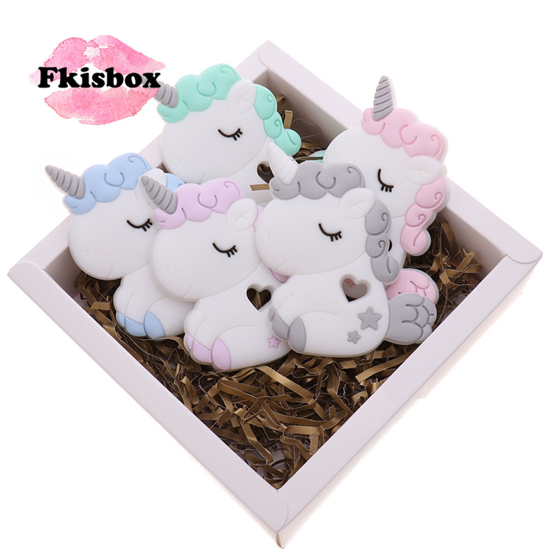 10pc Silicone Unicorn Sensory Teether BPA Free Babies Teething Necklace Pendant DIY Baby Toy Nursing Pacifier Chain Biting Gift
