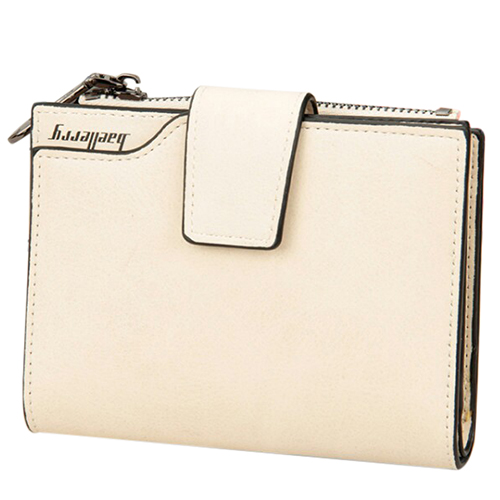 baellerry PU leather Ladies vertical matte zipper buckle multi-card bit coin Wallet 12*10*2.5cm, White
