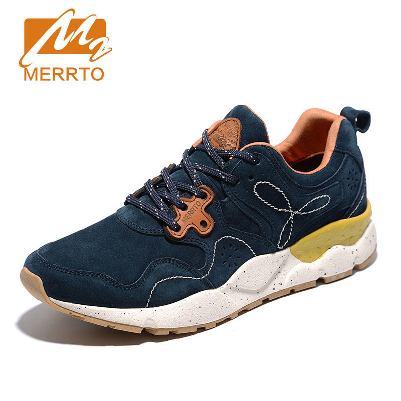 MERRTO men's Athletic Outdoor Sports running Shoes  damping Shoes Soft Genuine Leather wear-resistant anti-skid camping Sneakers kelme 2016 new children sport running shoes football boots synthetic leather broken nail kids skid wearable shoes breathable 49