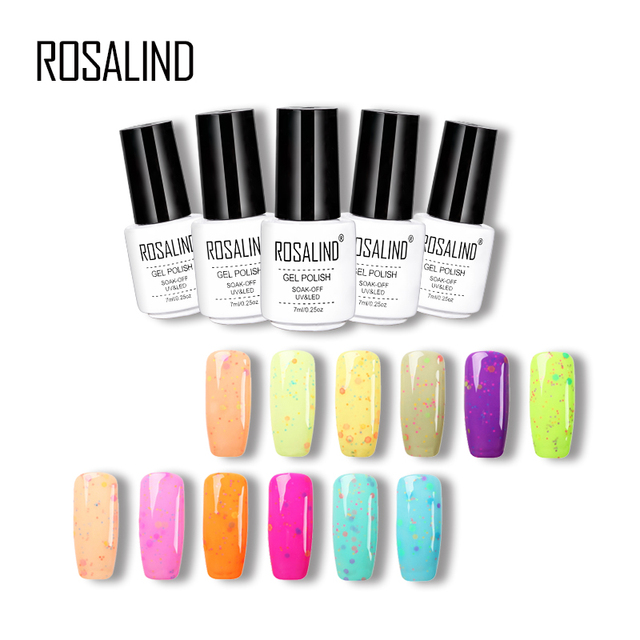 ROSALIND Gel 1S 7ML Little White Bottle Cheese Colorful Nail Gel Polish Lacquer Varnish Long-lasting UV& LED  Nail Beauty Art