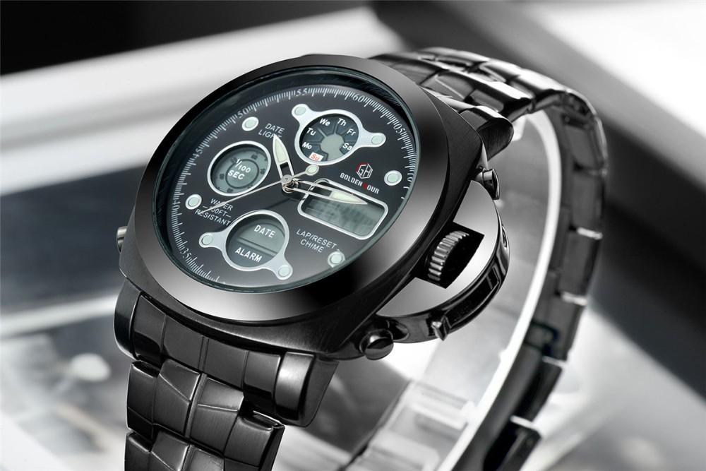 ที่ขายดีที่สุดทั้งหมดสแตนเลสสีดำผู้ชายOriginaฉลามนาฬิกาสไตล์อนาล็อกดิจิตอลปลุกน้ำทนRelógio Masculino 9