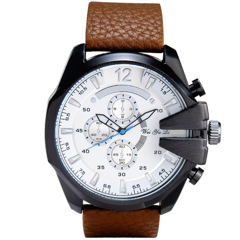 Brand WEIYAQI Watches Men Luxury Brand Quartz Men Wrist Watch Leather Strap Big Case Quartz-Watch Military Relogio Masculino New