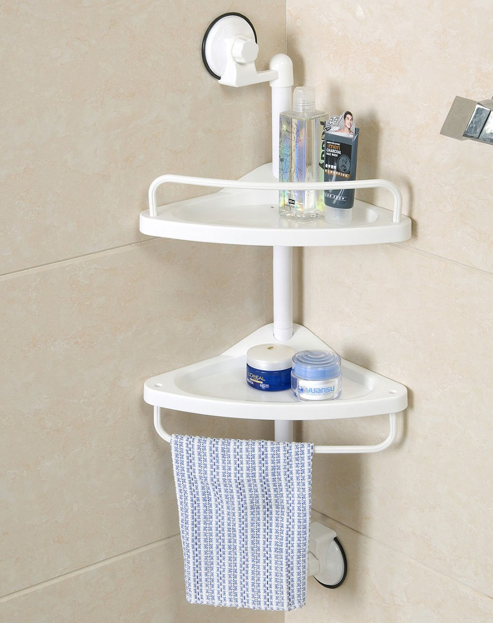 Super Strong Suction Wall Adsorption Two Racks Bathroom