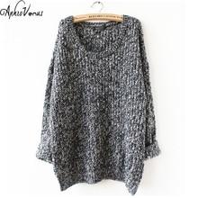 2016 Winter Women Wool Knitted Sweater Batwing Sleeve Tops Pullover Coat Loose Outwear Plus Size 5