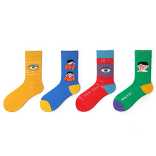 Womens Spring Autumn Cotton Funny Crew Socks Personality Original Cartoon Eye Pattern Retro Wild Hip Hop Trend Happy
