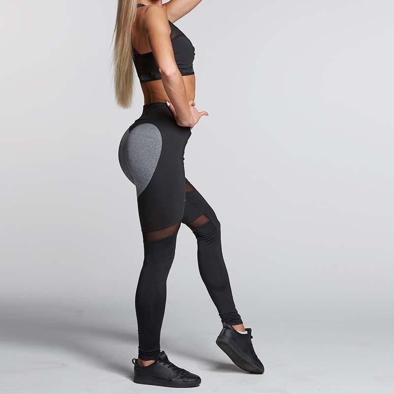 S-QVSIA 2017 Hohe Qualität Schwarz Herz Sporting Leggings Frauen Fitness Weiß Schwarz Patchwork Sportwear Heartmesh Legging