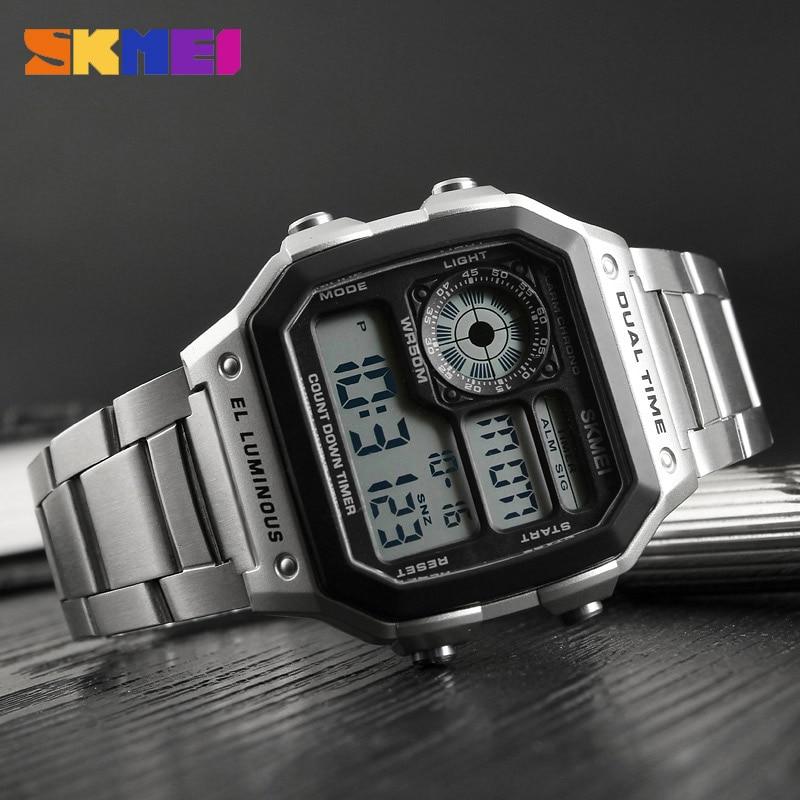 Skmei Бизнес Мужские часы водонепроницаемые повседневные часы из нержавеющей стали цифровые наручные часы Relogio Masculino Erkek Kol Saati - 4