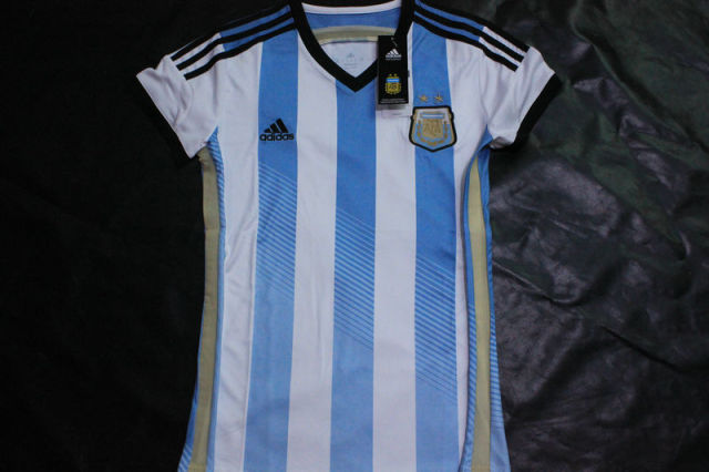 fb604e949 Free shipping! thailand quality argentina women home soccer jersey 2014  World Cup