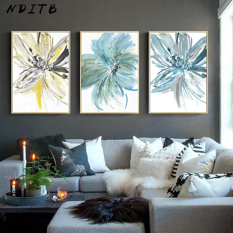 Modern Style Watercolor Flower Abstract Wall Poser Nordic Canvas Print Painting Contemporary Art Picture Living Room Decoration