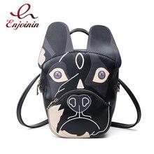 Мода мультфильм собака печать личности дамы повседневная молнии рюкзак кожа pu рюкзак школе для девочек 3 цветов