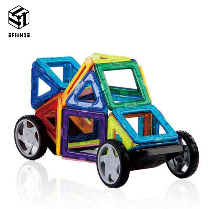 46pcs MAG VARIETY DIY Plastic Mini Magnetic Building Blocks Construction Model Educational Enlighten Assembly Toys For Children