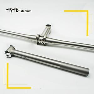 Image 2 - Tito 경량 티타늄 mtb/도로 자전거 부품 자전거 시트 포스트/시트 튜브 티타늄 스템 세트와 티타늄 합금 자전거 핸들 바