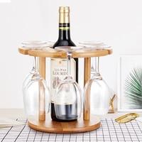 Bamboo Wine Bottle Glass Holder Hanging Upside Down Cup Goblets Display Rack for 6pcs Stemware Glasses and 1 wine bottle