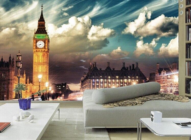 Beibehang Custom Mural Wall Paper European Architecture Bar KTV Lounge Wallpaper For Living Room London Night