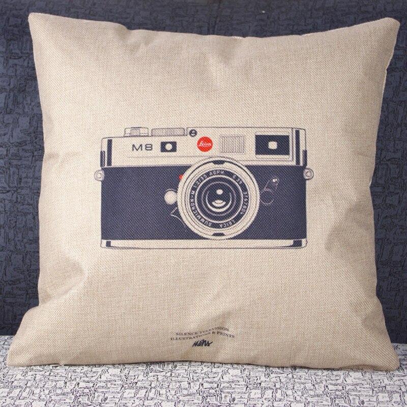 1pc Vintage Zipper hidden pillowcase cover Retro Camera Print throw ...