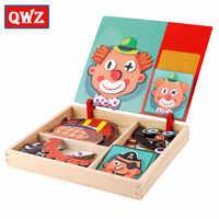 QWZ Juguetes Educativos de madera para niños juego de puzles magnéticos Set de juegos Easel Tabla de borrado seco pegatinas reutilizables divertidas para regalos de niños