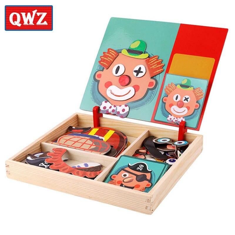 QWZ en bois enfants jouets éducatifs magnétiques Puzzles jeu Set chevalet effaçable à sec conseil amusant autocollants réutilisables pour enfants cadeaux