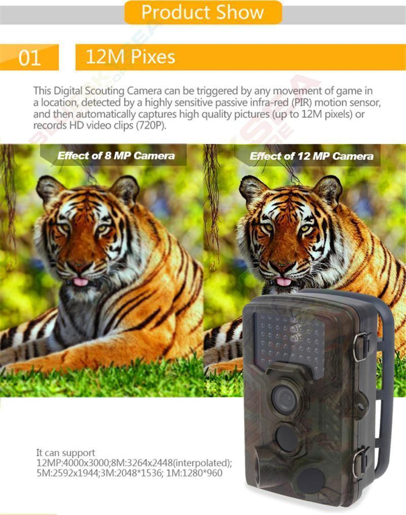 Free Shipping!H801W Low Glow 12MP Mini Infrared IR Digital Trail Game Hunting Camera 2.4 LCD