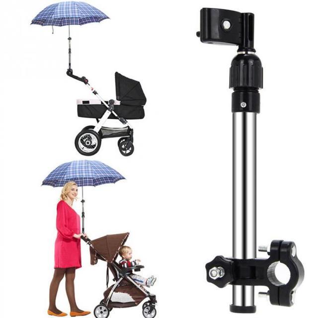 Bebé Push Pull Bike Sun Umbrella Holder Cochecito Cochecito de Niño Accesorio paragüero Silla de Ruedas Color Negro Fuerte Resistencia Al Viento
