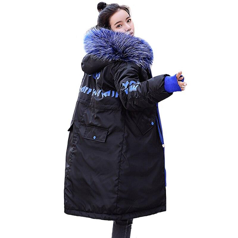 2019 Nouvelle Arrivée Femmes Veste D'hiver Avec Capuchon De Fourrure Rembourré Longues Femmes Manteau Chaud Épaississent Mode Femme Parka Outwear Parkas