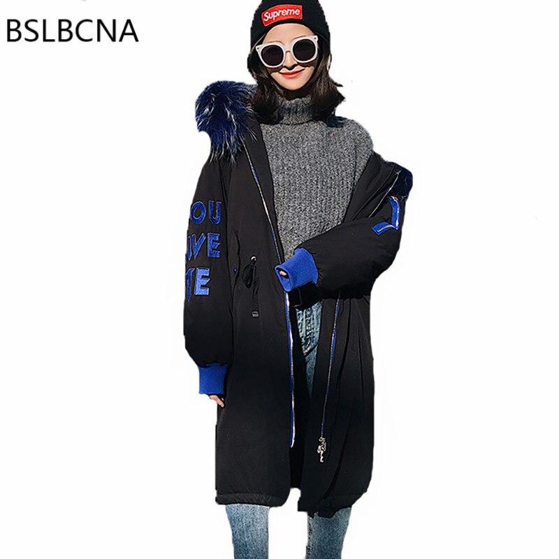 2018 корейский супер большой волос Куртка с воротником свободные Модные Средний длинная парка зима Для женщин пальто вышивка пуховая одежда