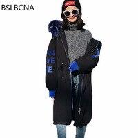 2018 Korean Super Large Hair Collar Jacket Loose Fashion Medium Long Parka Winter Women Coat Embroidery Down Clothes Female A265