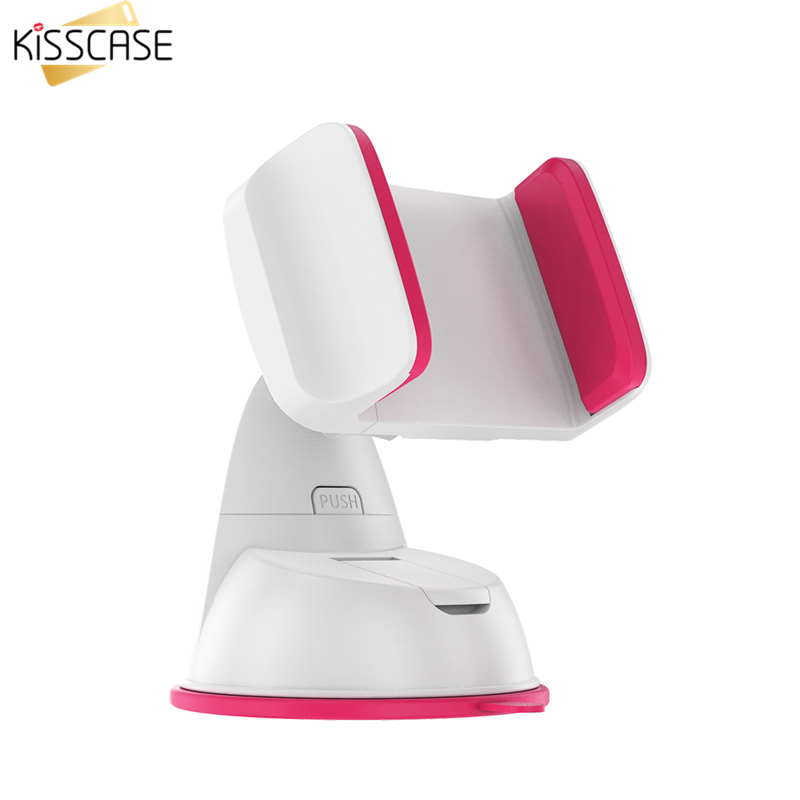 KISSCASE Universal Car Holder Cell Phone Stand Holder For iPhone 7 7 Plus 5 6 6s Plus 360 Degree Rotating Car Sucker For Samsung
