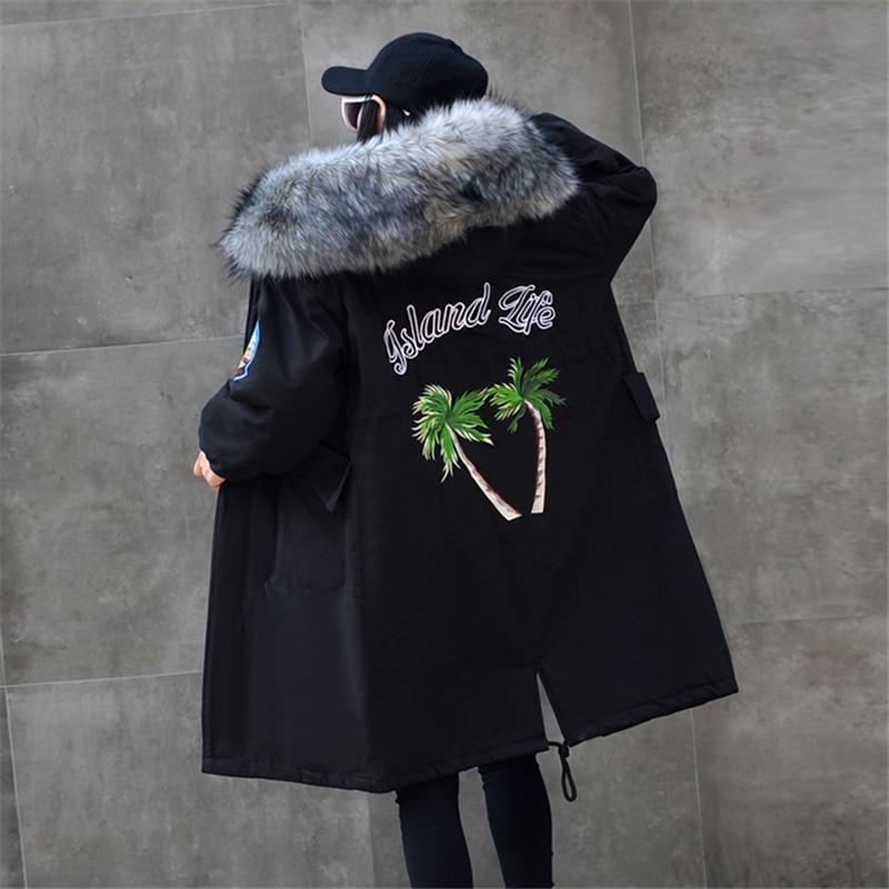 Plus Pour Manteaux Camouflage Rembourré Grand Black Broderie De Capuchon Hiver À armygreen Taille Veste Longue Parka Mode Coton Femmes Fourrure Manteau Col gray La 58nwaqUA8