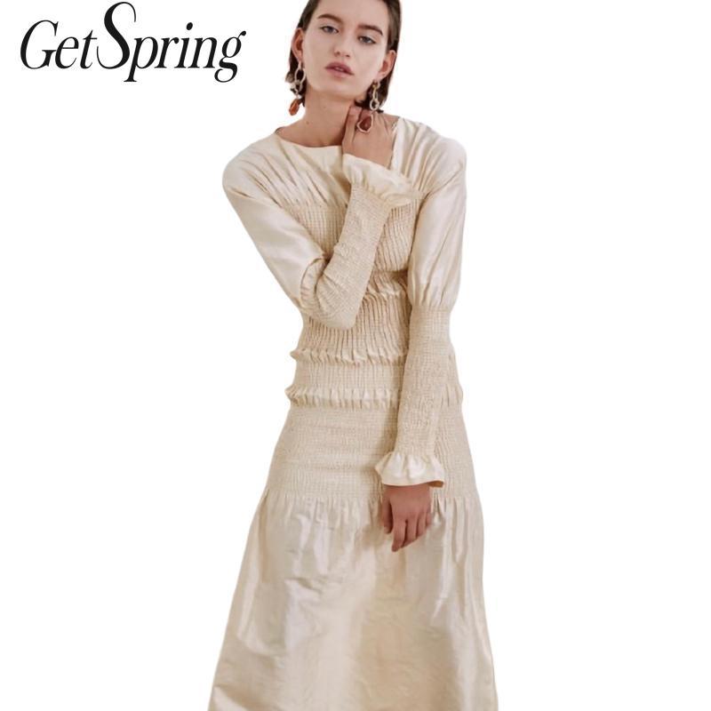 GetSpring femmes robe Designer robe 2019 nouvelle robe de sport été élastique tranchée Vintage manches longues Long serré noir Beige
