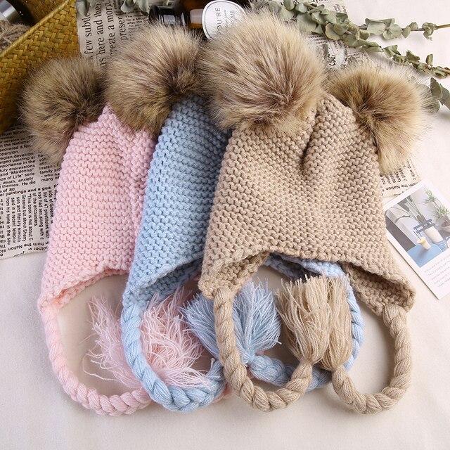 0b37c5db496 Knitted Winter Baby Warm Hats Children Fur Pom Pom Hats Baby Girls Boys  Kids Skullies Beanies