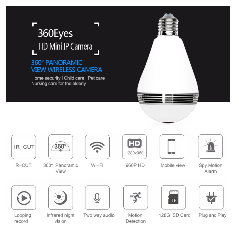 New 1.3MP Mini Lamp WIFI Camera 960P 360 Degrees Panoramic FishEyes Lens HD Bulb Light Wireless IP Camera Support 128GB TF Card bc 883m mirror bulb lamp camera hd 960p wifi ap hd 960p ip network camera with real light remote control 2017 new arrival