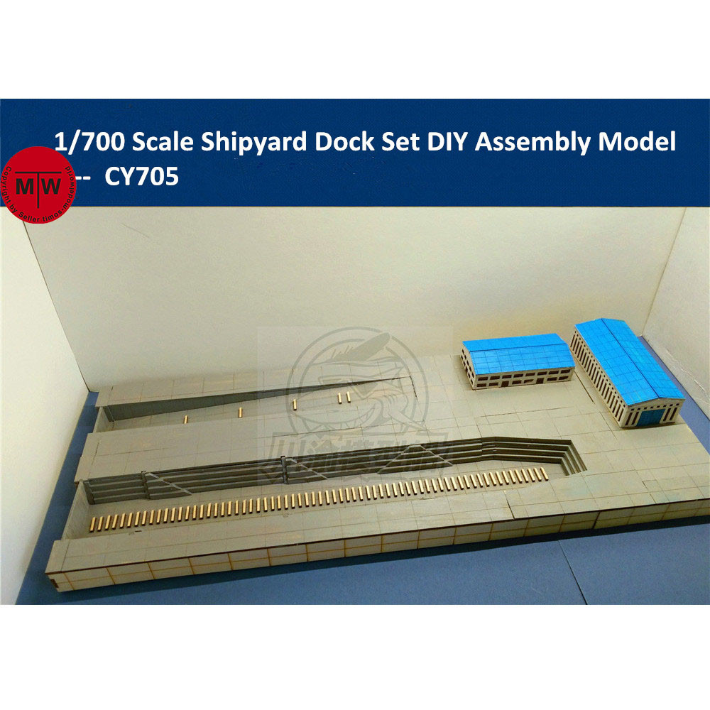 1 700 Scale Shipyard Dock Dockyard Platform Diorama DIY Wooden Assembly Model Kit include Wooden Buildings