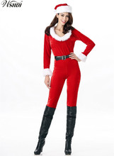 e0554c1a573 Women Sexy Red Velvet Long Sleeve Zipper Christmas Santa Claus Costume  Cosplay Xmas Uniform Santa Claus