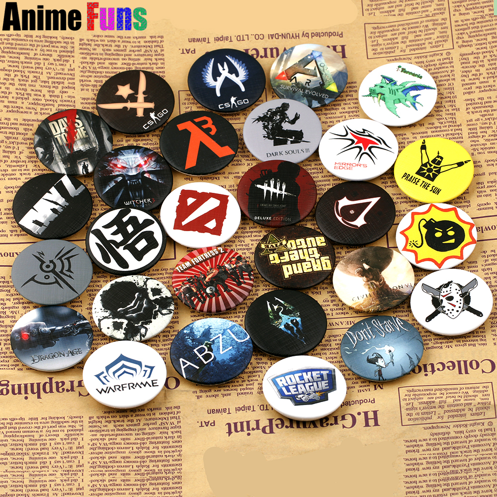 US $1 45 |Hot Games Dota 2 CS GO Logo Pin BUTTONS Badges Brooches School  Bag Badge Game Collection Great Charm Gift For fans Series 2-in Brooches  from