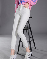 Retail Fashion Lady Solid High Weight Pencil Pants Ankle Length Regular Softrner Skinny Cotton Jean Women