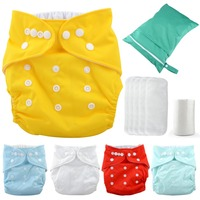 Baby Diapers Breathable Disposable Nappies Bamboo Fiber Training Pants Cloth Infant Waist button Anti off Diaper bags