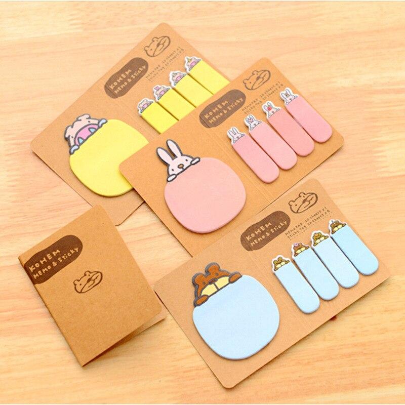 16pcs/lot Cute Folding Rabbit memo pads Kawaii Kraft sticky note paper stationery post it bookmark office School Supplies