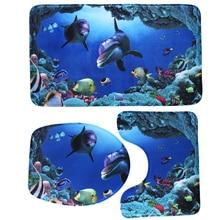3pcsset bathroom accessories sets nonslip pedestal rug lid toilet cover bath mat home bathroom products e5m1