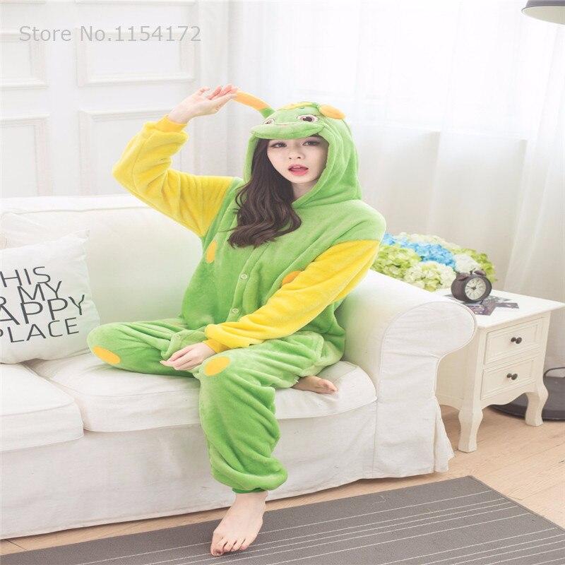 Nette grüne Wurm tier Pyjamas unisex flanell haube Pyjamas ...