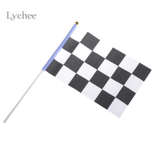 Lychee 5 Pieces Lot Checkered Flag Hand Signal Flags Black and White Chequered F1 Racing Flag